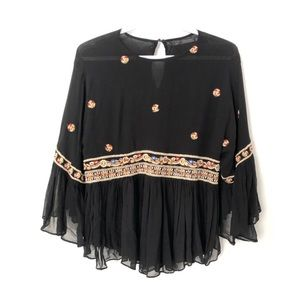Zara Boho Embroidered Ruffle Top Frilly Black S